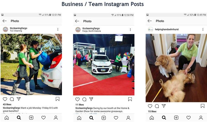 Comparte fotos de tu sonriente equipo de limpieza en Instagram