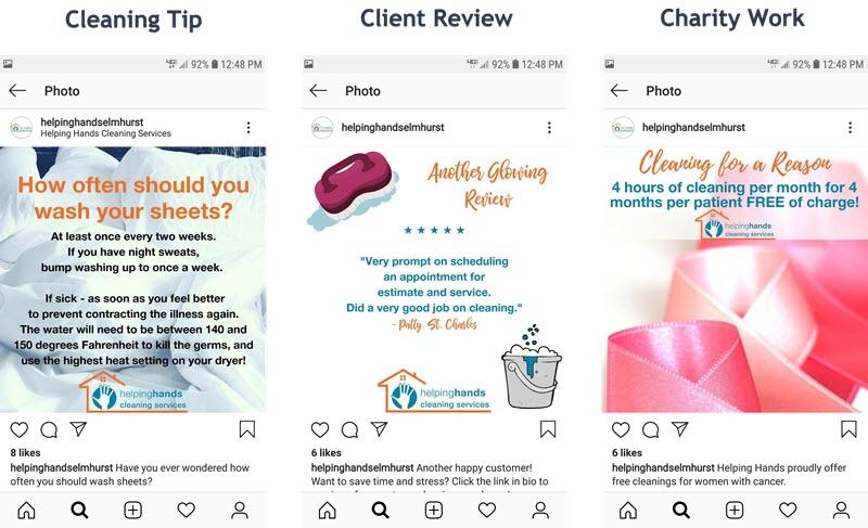 Comparte consejos de limpieza, reseñas de clientes y obras de caridad en Instagram