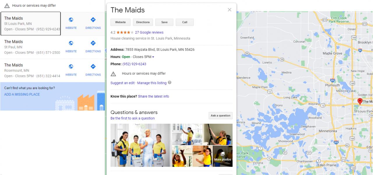Ejemplo de una página de Google My Business para una empresa de limpieza residencial