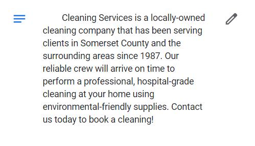 Ejemplo de una descripción bien escrita en una página de Google My Business para una empresa de limpieza