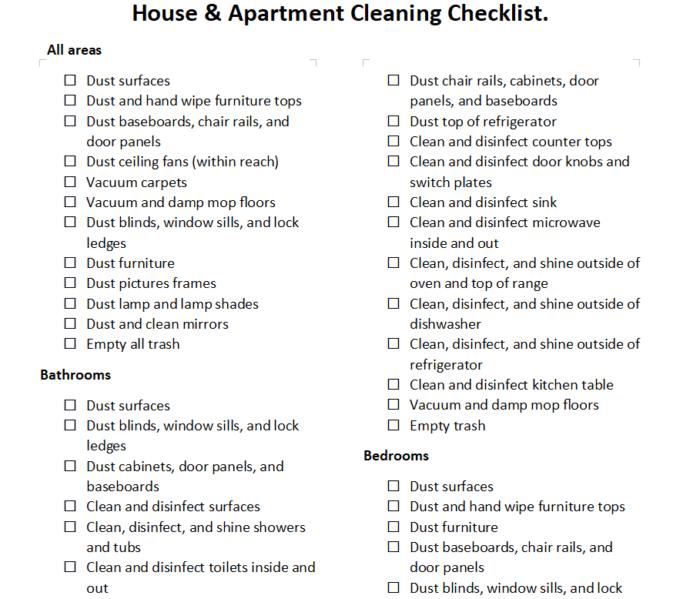 Lista de verificación de limpieza de apartamentos y casas PDF
