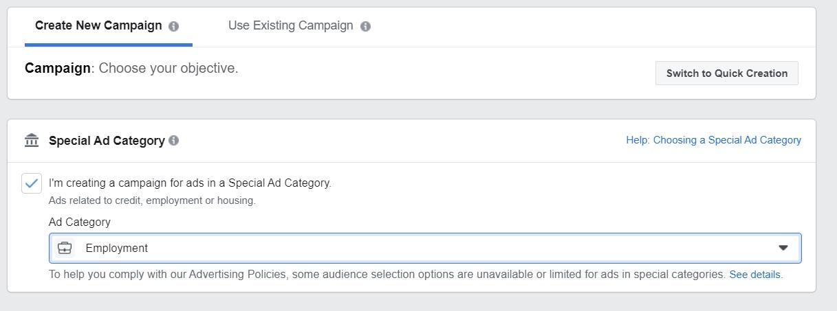 Categoría de anuncio especial en Facebook